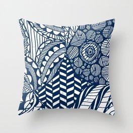 Boho World - Paper Cut Geometry Blue Throw Pillow