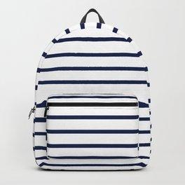 Horizontal Navy Blue Stripes Pattern Backpack