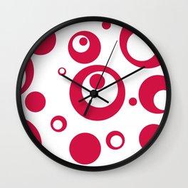Circles Dots Bubbles :: Geranium Inverse Wall Clock