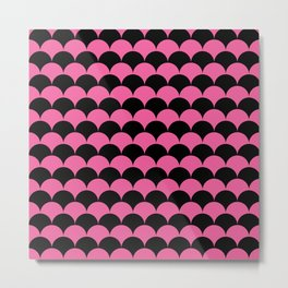 Pink & Black Scales Pattern Metal Print