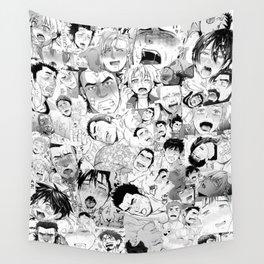 Ahegao Hentai Manga Guys Collage in B&W (Bara/Doujinshi) Wall Tapestry