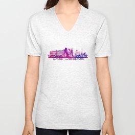 Las Vegas skyline purple Unisex V-Neck