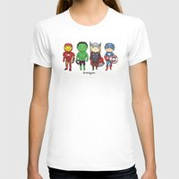 super heroes T-shirts featuring Super Cute Heroes: Avengers! by Kayla Dolby
