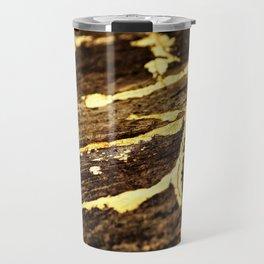 Gold Veining on Rustic Raw Wood Travel Mug