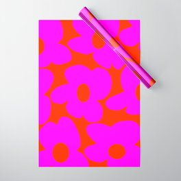 Pink Retro Flowers Orange Red Background #decor #society6 #buyart Wrapping Paper