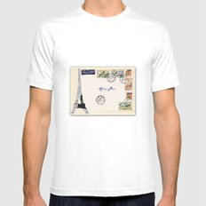 French Postage, meet me in Paris MEDIUM White Mens Fitted Tee