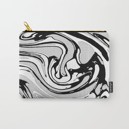 Black, White and Gray Graphic Paint Swirl Pattern Effect Carry-All Pouch