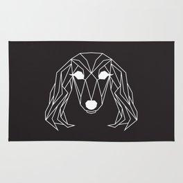 raya goods : lexie the dachshund, white on black Rug