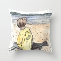 cape cod Throw Pillows featuring Cape Cod by Katerina Skassi