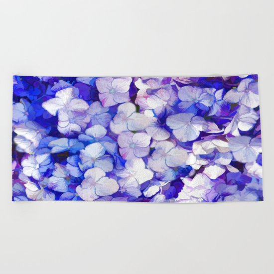 Watercolor Hydrangea Beach Towel