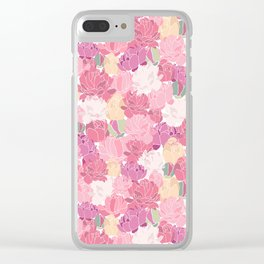 Rose Peony Flowers Clear iPhone Case