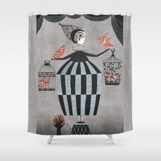 The Bird Act Shower Curtain