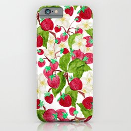 Watercolor red green black white strawberry floral iPhone Case