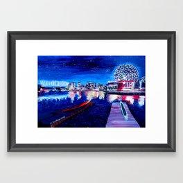 Vancouver skyline at starry night Framed Art Print