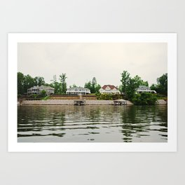 4 Houses on a Lake Art Print