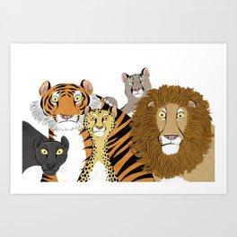 Surprised Big Cats Art Print