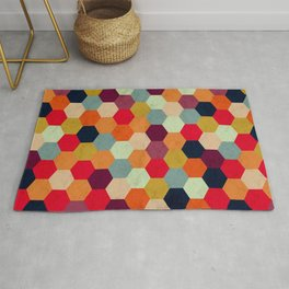 Colorful Beehive Pattern Rug
