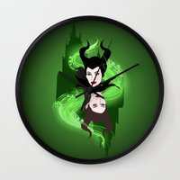 maleficent Wall Clocks featuring Maleficent by Pendientera