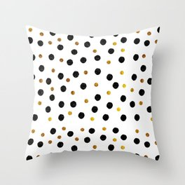 Black & Gold Glitter Confetti on white background- Elegant pattern Throw Pillow