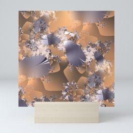 Platinum leaves and fractal vines on gold and copper background Mini Art Print