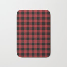 90's Buffalo Check Plaid in Red and Black Bath Mat