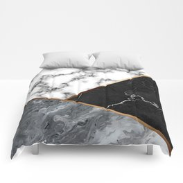 Elegant Silver Marble with Bronze Lining Comforters