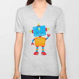 Cute Robot, Waving Robot, Colorful Robot Unisex V-Neck