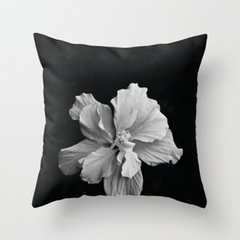 Hibiscus Drama - Black and Grey Throw Pillow