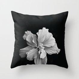 Hibiscus Drama - Black and Grey Throw Pillow