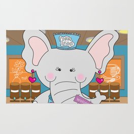 Elsa in the Coffee Shop  - Fun, sweet, creative and colorful, original,digital children illustration Rug