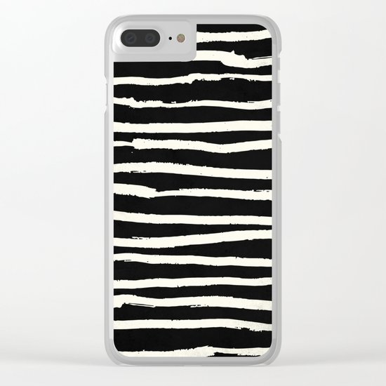 Hand Drawn Stripes on Black Clear iPhone Case