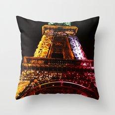 Parisian Mosaic - Piece 21 - The Eiffel Tower Night Light Throw Pillow