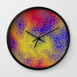Volumetric texture of pieces of yellow glass with a Iridescent mysterious mosaic. Wall Clock