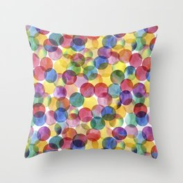 Multi-Color Watercolor Paint Dabs Pattern Throw Pillow