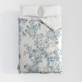 Vintage blue white bohemian elegant floral Comforters