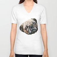 pug V-neck T-shirts featuring pug by Ancello