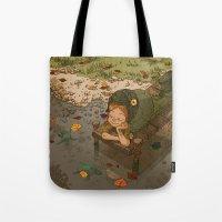 bouletcorp Tote Bags featuring La rivière aux tortues by Bouletcorp