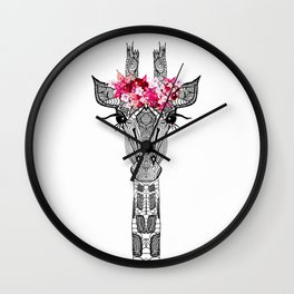 FLOWER GIRL GIRAFFE Wall Clock