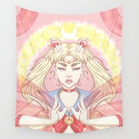 sailor moon Wall Tapestries featuring sailor moon by Madeline Ormbrek
