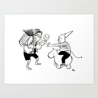 alisa burke Art Prints featuring Burke v. Carlyle by Le Pac