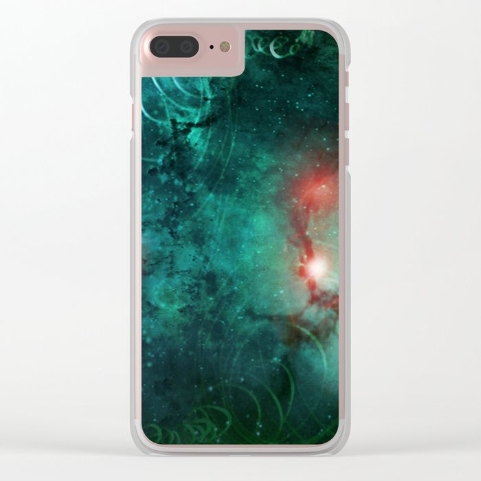 Turquoise Nebula Abstract Clear iPhone Case