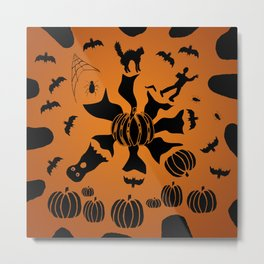 Zombie Black Cat Bat Spider Ghost Pumpkin Metal Print
