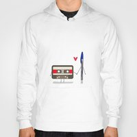 pen Hoodies featuring Love: cassette and pen by AlbaRicoque