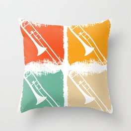 Retro Art Trombones Throw Pillow