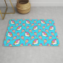 Cute happy pretty magical unicorns kittens, sweet adorable yummy colorful Kawaii rainbow ice cream popsicles cartoon summer bright baby blue pattern design Rug