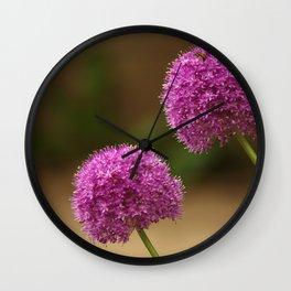 Violet flowers in Curiosity Garden, Lyon Wall Clock