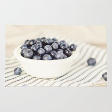 Scalloped Cup Full of Blueberries - Kitchen Decor Rug
