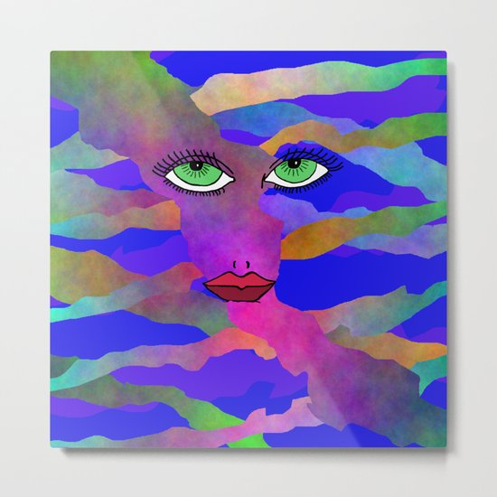 Eyes and Lips Colorful Metal Print