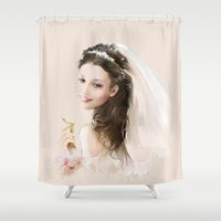 bride Shower Curtains featuring bride by tatiana-teni