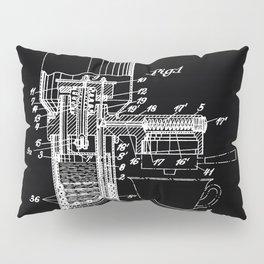Espresso Machine Patent Artwork - White on Black Pillow Sham